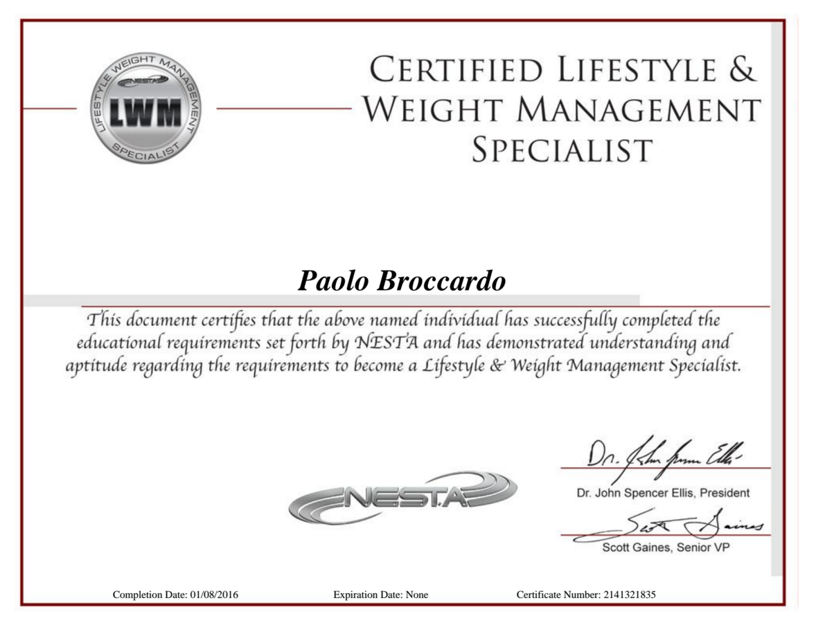 Nesta Certified Lifestyle And Weight Management Specialist